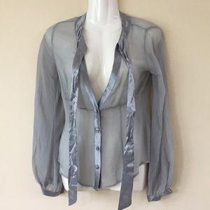 Arden B XS grey silver-ish sheer silk blouse
